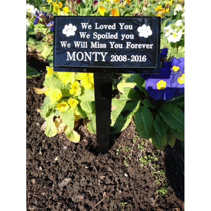 Pet Memorial Plaque on Ground Fixing Stake including inscription