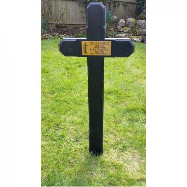 Wooden Grave Marker Cross Black Including Plaque With Inscription
