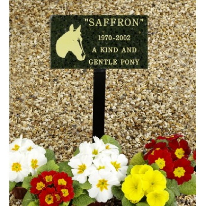 Granite Style Pet Memorial Plaque including inscription