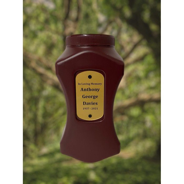 Poly Urn with engraved name plaque
