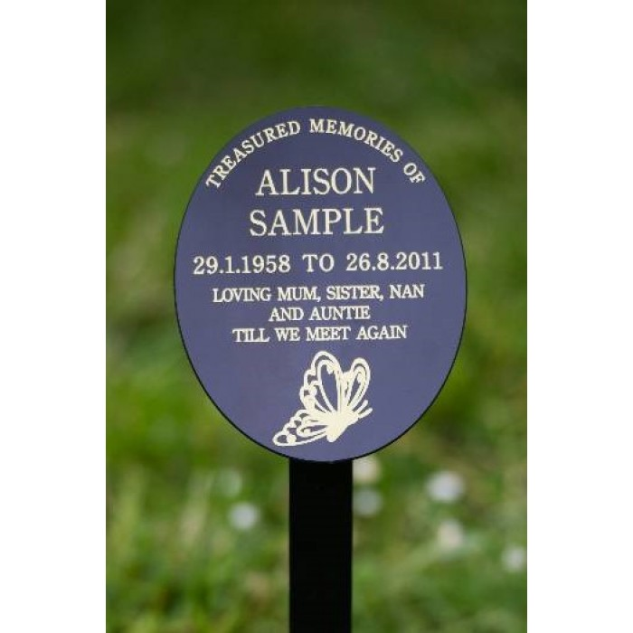 Oval Memorial Plaque on Ground Stake including inscription