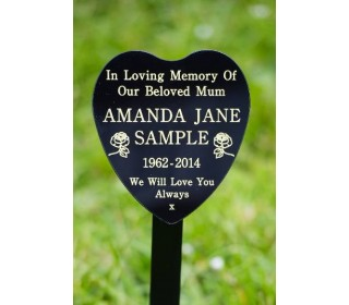 Heart Shaped Memorial Plaque on Ground Stake including inscription