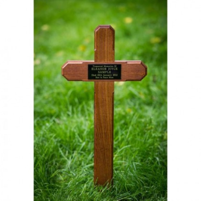 Wooden Grave Marker Cross including plaque with inscription