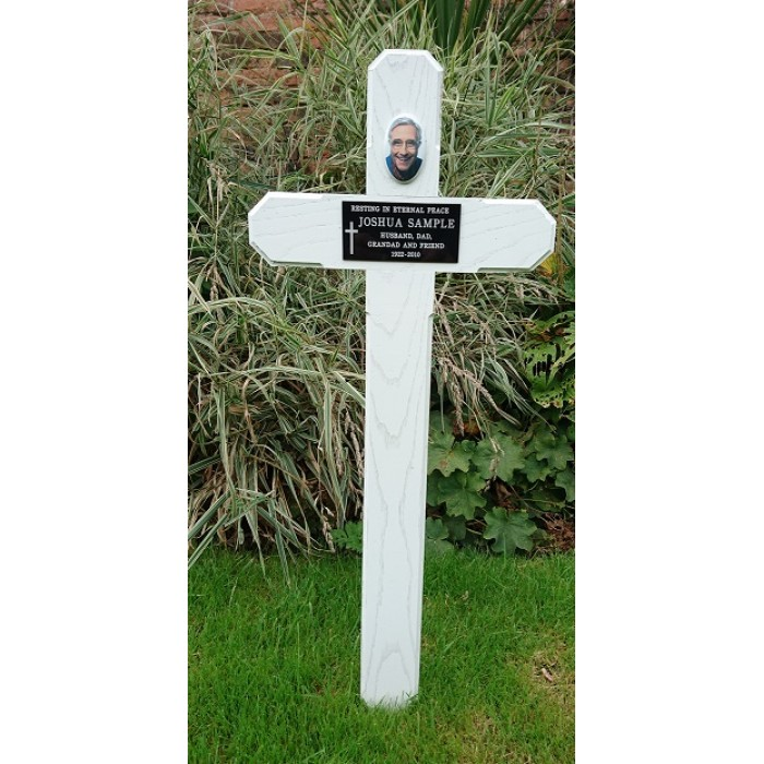 Wooden Grave Cross White Including Ceramic Photograph And Plaque With Inscription
