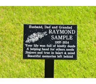 Granite Style Memorial Plaque including inscription