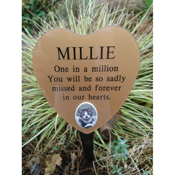 Heart Shaped Pet Memorial Plaque on Ground Stake including inscription