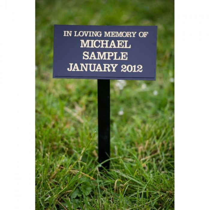 Perspex grave marker mounted onto ground fixing stake including inscription