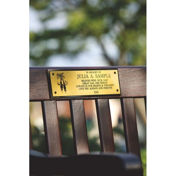 Memorial Bench Plaque including inscription