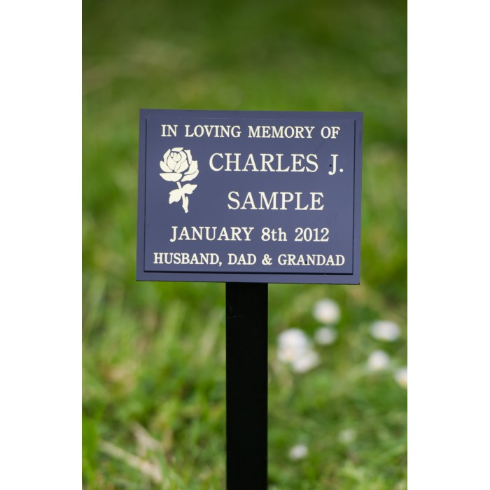 Perspex Memorial Plaque on Stake including inscription